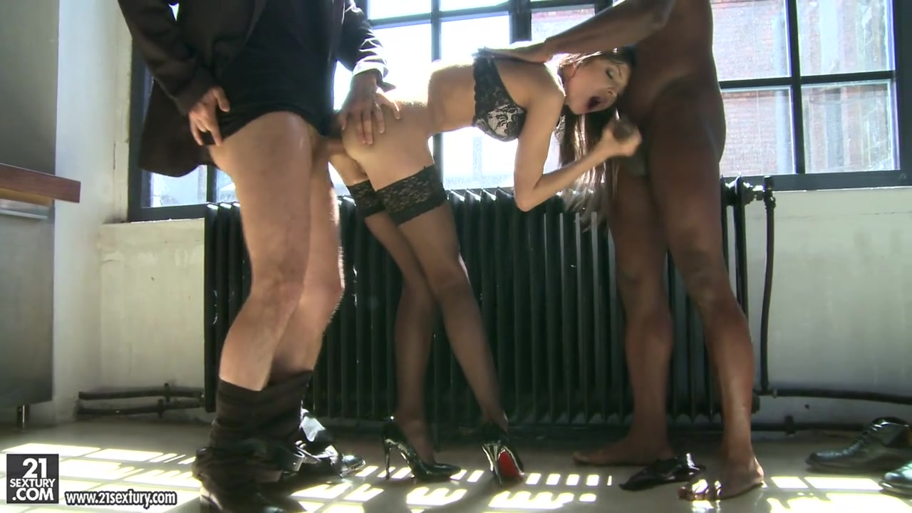 She loves to have cocks doubly, today she chooses a black and a white partner to entertain her horny pussy and tight asshole.