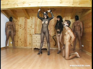 Mistress Katy Dominates Three Guys and One Other Woman in This Scene.