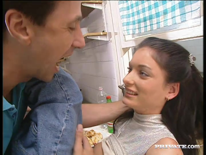 Sexy Brunette Vanessa Gets Laid in the Kitchen While Some Guy Cooks.