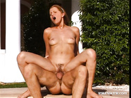 Anne Joy is introduced to a man and then they are outdoors by the pool with her giving him a blowjob.