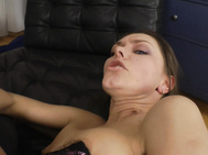 Barely able to walk, she kneels and sucks his dong to collect her prize- a nice load of jizz.