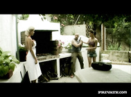 Silvia and Victoria Fuck at a BBQ and Have an Anal Cream Pie Desert.