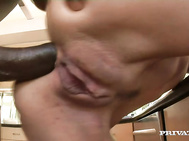 Eventually she kneels for the facial