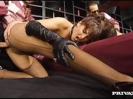 Miss Silvia Lancome is dominating a guy in this scene and she's on a staircase wearing pantyhose.