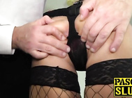 Fishnets peach Joanna Bujoli anally rammed with massive cock
