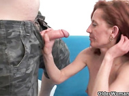 Scraggy milf gets spunk coating
