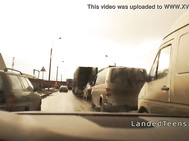 Hot innocent asshole banged in the car