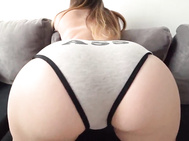 Large nectareous backside in gray panties fucked