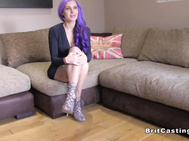 Purple haired hottie gets anus at casting