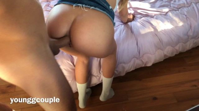 Petite Teeny Riding a Large Cock in both Holes.
