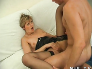 French milf in stockings gets asshole fucked