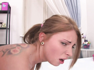 Zoey loves cock and you can see her swallowing this big one before riding on top of it.