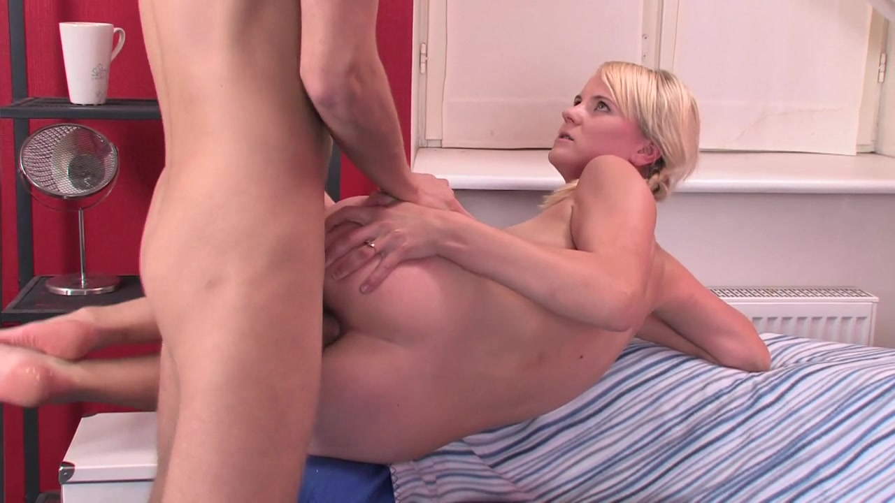 She got a hold of his cock and started sucking him down the back of her throat.