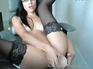 sexy chick in glasses pleases herself on cam 0